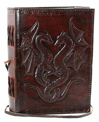 Double Dragon Leather Blank Book Celtic Grimoire Diary Journal