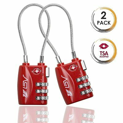 TSA Approved Luggage Travel Lock 2 Pack, Set-Your-Own Combination Keyless Lock
