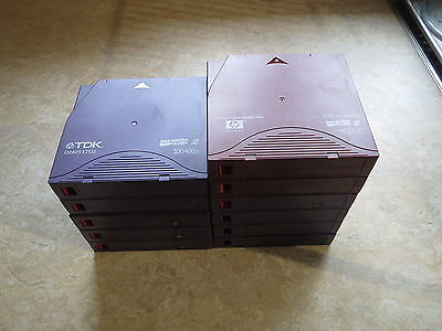 Various TDK, Quantum, and HP LTO-2 cartridges (with boxes)