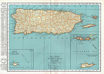 Puerto Rico Map Vintage 1930s Original Map Rand McNally Wall Decor