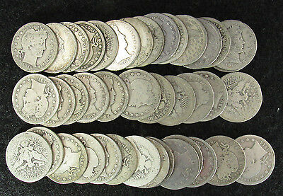 40 Coin Full Roll Barber Quarters Average Circulated Mixed Dates
