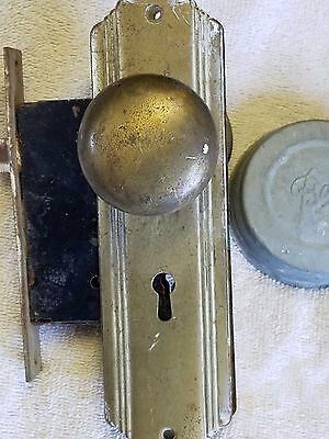 Vintage Brass Door Knob With Plates and Latch