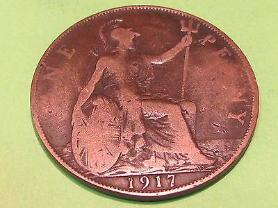 British large copper 1917  coin......combine shipping and save $$$$$$
