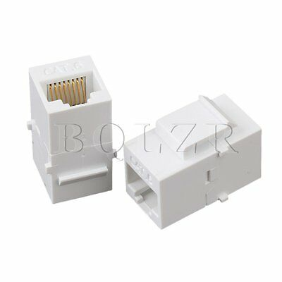 5 x Cat6 RJ45 Ethernet Inline Jack Coupler White Keystone Latch Female to Female