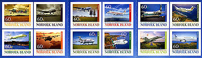 Norfolk Island 2012 MNH Aircraft Landing 70 Yrs 12v S/A Booklet Aviation Stamps