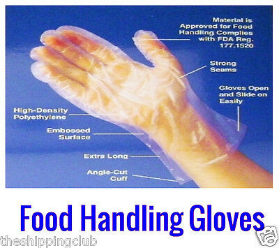 500 DISPOSABLE FOOD HANDLING GLOVES Clear Safe One Size Cooking Cleaning Kitchen