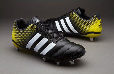 adidas Mens Adipower Kakari 3.0 Rugby Boots Core Black/White/Bright Yellow