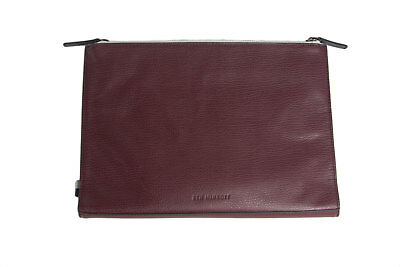BEN MINKOFF Men's Wine Genuine Leather Clarke Double Snap Pouch OS $225 NWT