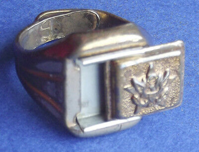 Lone Ranger Cereal Premium Secret Compartment Army Ring 1940s