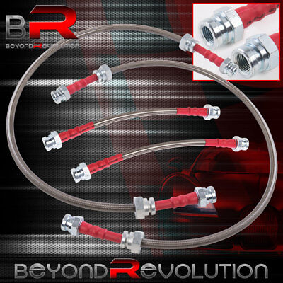 For 1990-1996 300ZX High Performance Racing Braided Oil Brake Line Red End