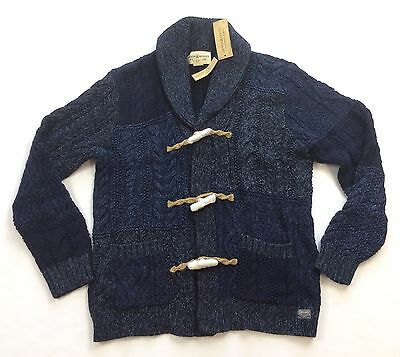 Denim Supply Ralph Lauren Men Patchwork Thick Cable Knit Sweater Toggle Cardigan