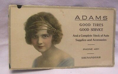 1910's Shenandoah Iowa Adams Good Tires Auto Supplies Advertising Ink Blotter