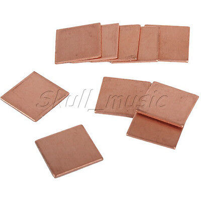 10PCS 15mmx15mmx0.8mm Thermal Copper Pads Heat Sink for Laptop GPU Graphics