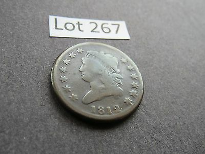 1812 1C Large Date BN Classic Head Cent - G to VG (Lot #267)