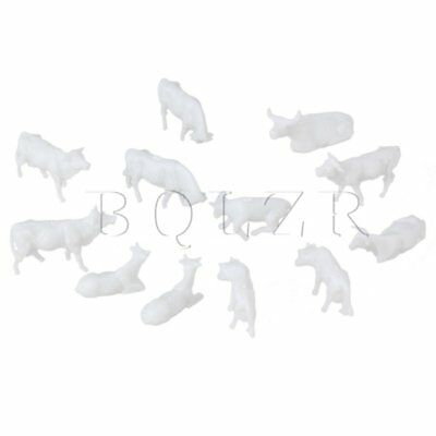 1:87 White UnPainted Miniature Farm Animals Cows for DIY Model Pack of 100