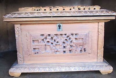 Early 19th Century Chinese Carved Wood Export Jewelry / Trinket Box