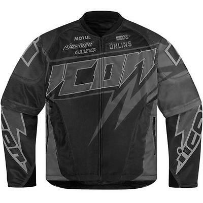 Icon Jersey Spaztyk Mesh Motorcycle Jacket Black with Silver-Grey-Gray XLarge XL