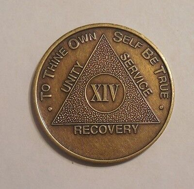 aa bronze alcoholics anonymous 14 year sobriety chip coin token medallion
