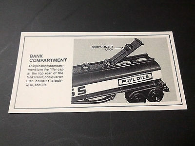 1984 Hess Tanker Truck Bank Instruction Card 84