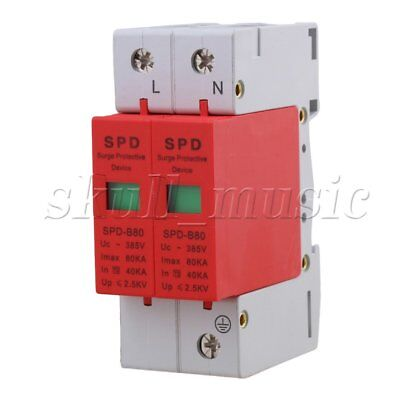 2P 40~80KA Din Rail Surge Protection Over Voltage Lightning Arrester SPD Red