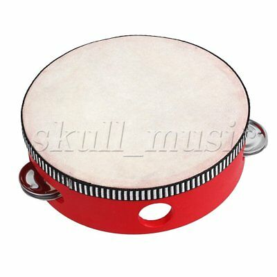 """6"""" Traditional Wooden Natural Skinned Tambourine Musical Toy Instrument For Kids"""