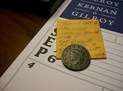 1820 Corconet Head Copper Large Cent.newcomb N4.r4 Rarity.grades About Fine.