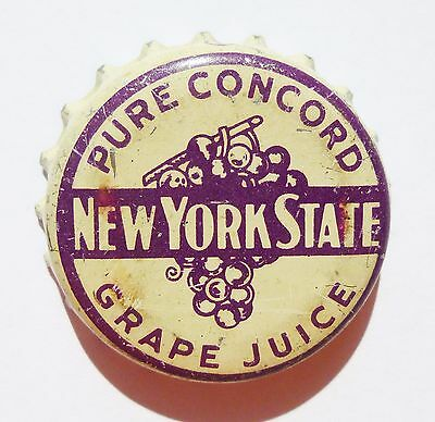 Pure Concord Grape Juice Cork Bottle Cap New York State   Rare!