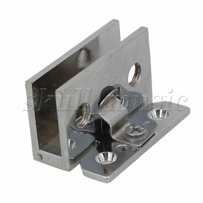 Stainless Steel 90° Frameless Wall to Glass Bathroom Door Hinge Clamps Chrome