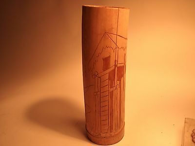 Vintage 1943 New Guinea Carved Bamboo Lime Container FREE SHIPPING