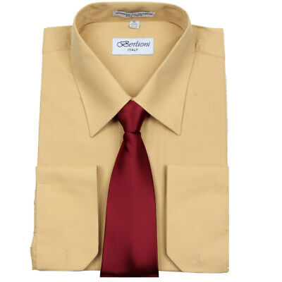 Men's Casual French Cuff Tie Set Mustard Dress Shirt & Burgundy Tie By Berlioni