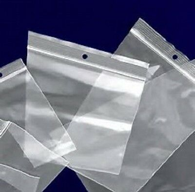 2x3 to 12x15 Clear Hang Hole ZipLock Reclosable Poly Jewelry Bags 4MIL Seal Top