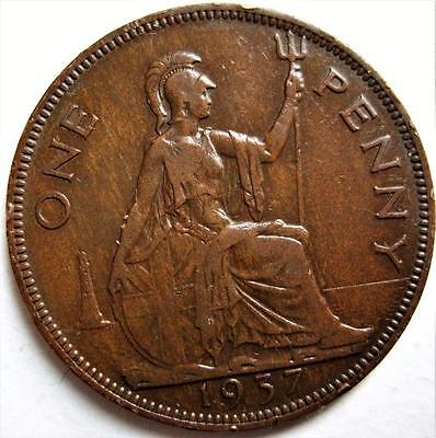 1937 UK GREAT BRITAIN 1 PENNY KM# 845 BRONZE COIN KING GEORGE Vi ~ LOT R56