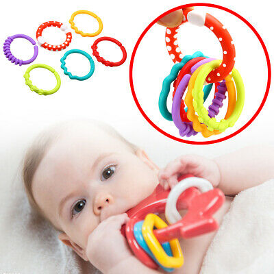 6Pcs Rainbow Teether Ring Links Plastic Baby Kids Stroller Gym Play Mat Toys