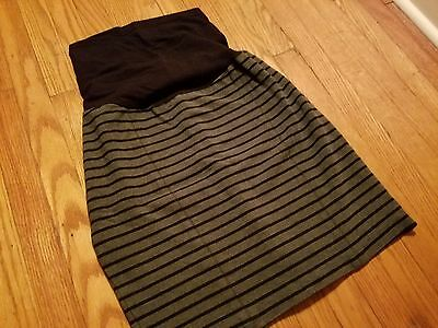 A Pea in the Pod Maternity Skirt Striped Grey and Black Medium M Belly Band EUC