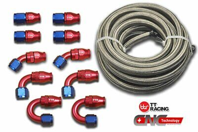 6-AN AN6 Braided Steel PTFE  Fuel Hose 20FT 6M + Swivel Teflon 10 Fittings E85