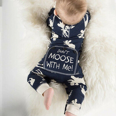Cute Newborn Baby Girl Boy Moose PP Romper Bodysuit One-pieces Outfits Clothes