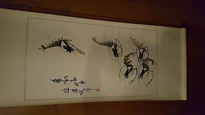 Vintage CHINESE INK PAINTING ON PAPER OF SHRIMP&CALIGRAPHY,ARTIST SEAL