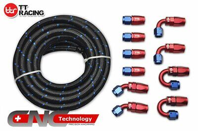 AN6 NYLON/ Steel Braided OIL/FUEL Line 20FT 6M+10 Fittings Hose End Adaptor Kit