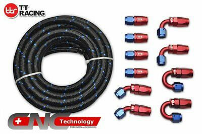 AN6 NYLON/ Steel Braided OIL/FUEL Line 20FT 6M+Fitting Hose End Adaptor Kit