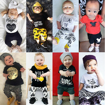 2Pcs Toddler Kids Baby Boys Girls Clothes Romper Tops T-shirt+Pants Outfits Set