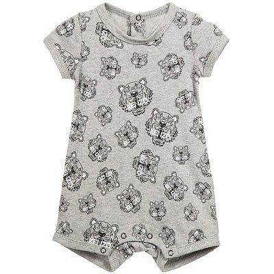 Kenzo Baby Grey Cotton Jersey Tiger Shortie 18 Months X 2