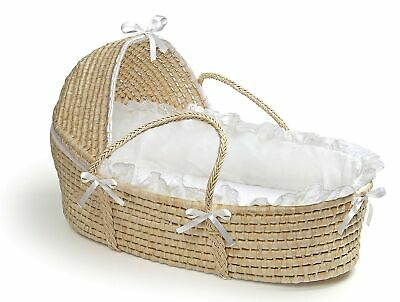 Brand New Badger Basket Moses Basket with Hood and Bedding, Natural/White