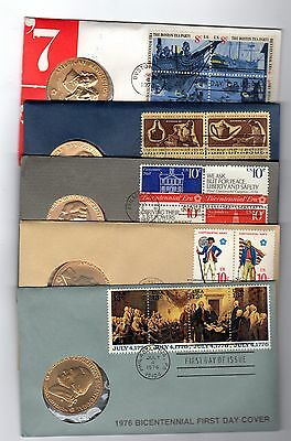 5 Revolutionary War Bicentential First Day Covers with Coins 1972-1976