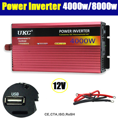 3000W / 6000W (Peak) Watt 12V to 240V Power Inverter Car Caravan Boat USB Charge
