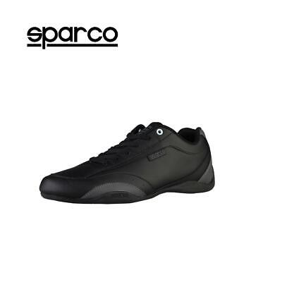 NEW Sparco Mens Black Grey Leather Sneakers Sport Casual Driving Racing Shoes