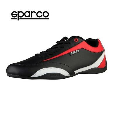 NEW Sparco Mens Black Red Leather Sneakers Sport Casual Driving Racing Shoes