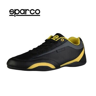 NEW Sparco Mens Black Yellow Leather Sneakers Sport Casual Driving Racing Shoes