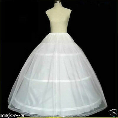 New A-Line White 3-Hoop 1 Layer Wedding Bridal Petticoat Crinoline Underskirt A8