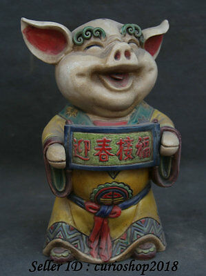 "8"" Chinese Wu Cai Porcelain Feng Shui Zodiac Year Pig Blessing Statue Sculpture"