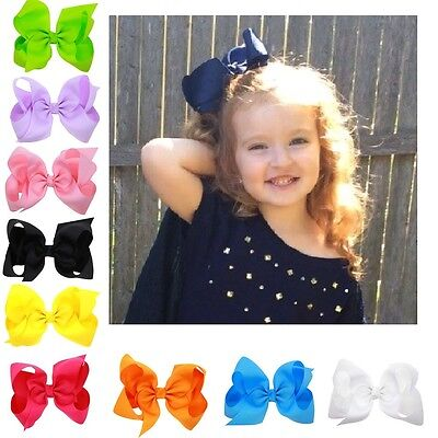 3/4/5/6/8 Inch Big Bows Boutique Hair Clip Pin Alligator Clips Ribbon Bow Girl